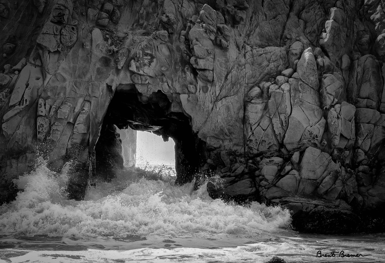 Pfeiffer Beach Keyhole Rock BW